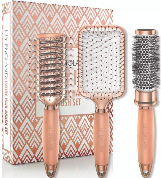 Lily England Haarbürsten Set – Luxus Haar Styling Set mit Haarbürste, Rundbürste, & Skelettbürste in
