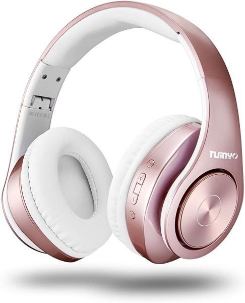 TUINYO Bluetooth-Kopfhörer Over Ear Hi-Fi Stereo Headset drahtloser Kopfhörer mit tiefen Bässen