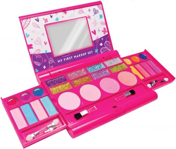 12.Mein erstes Makeup-Set, Mädchen Makeup-Set, ausklappbare Makeup-Palette mit Spiegel und sicherem