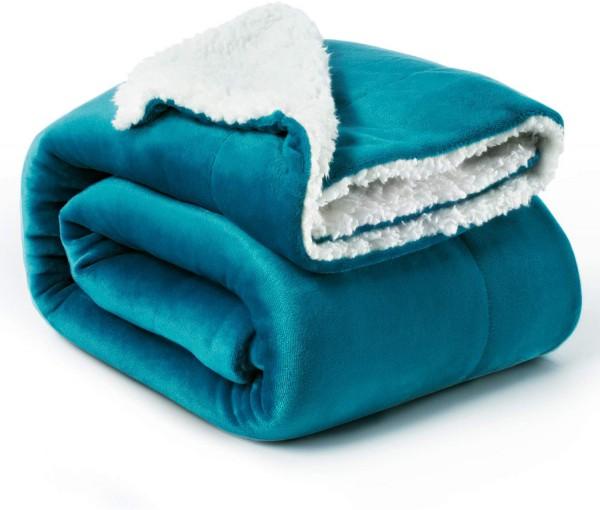Bedsure Sherpa Decke Türkis hochwertige Wohndecken Kuscheldecken, extra Dicke warm Sofadecke/Couchde