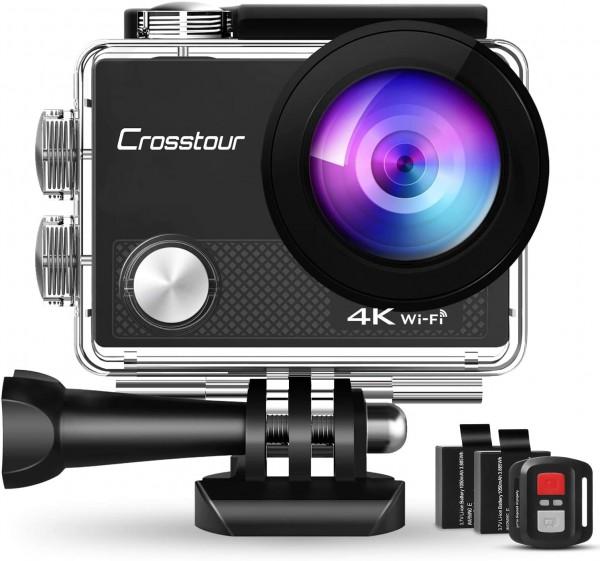 Crosstour CT9000 Action Cam Unterwasserkamera (4K 20MP WiFi Unterwasser 40M Wasserdicht Helmkamera F