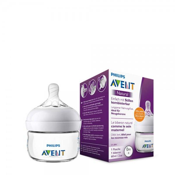 Philips Avent Natural Flasche SCF039/17, 60 ml, naturnahes Trinkverhalten, Anti-Kolik-System, transp