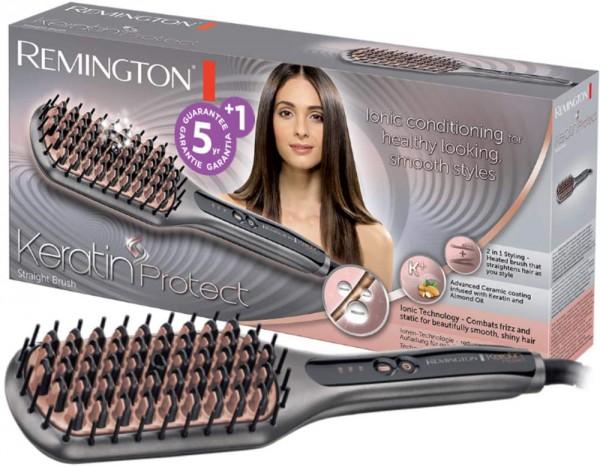Remington Glättbürste Keratin Protect Ionen 2in1: Glätteisen & Haarbürste für eine reduzierte Stylin